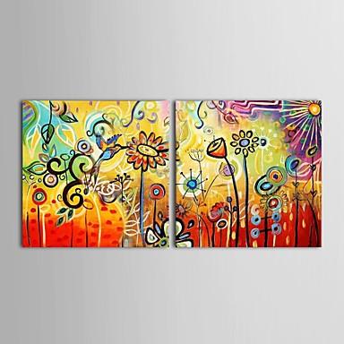 Pictat manual Floral/Botanic Orizontal pânză Hang-pictate pictură în ulei Pagina de decorare Două Panouri