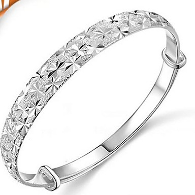 Women's Round Bangles Silver Jewelry Wedding Party Special Occasion Anniversary Birthday Engagement Gift Daily Casual Office & Career