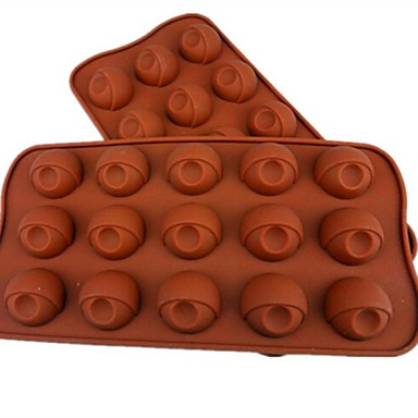 15 Hole Eye Shape Cake Ice Jelly Chocolate Molds,Silicone 21.5×10.5×2 CM(8.5×4.1×0.8INCH)
