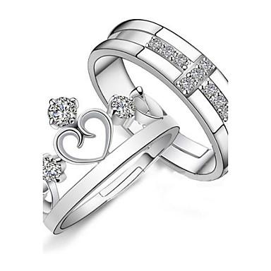 925 пар серебряный хрусталь кольца короны (2 шт.) Элегантный стиль