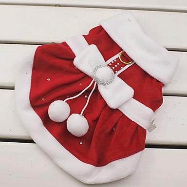 Katze / Hund Kostüme / Kleider / Weihnachten Hundekleidung Schleife Rot Baumwolle Kostüm Für Haustiere Damen Cosplay / Weihnachten / Neujahr