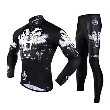 FJQXZ Cycling Jersey with Tights Men's Long Sleeves Bike Jersey Tights Clothing Suits Thermal / Warm Quick Dry Ultraviolet Resistant