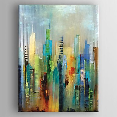Hand-Painted Abstract Vertical,Modern European Style One Panel Canvas Oil Painting For Home Decoration