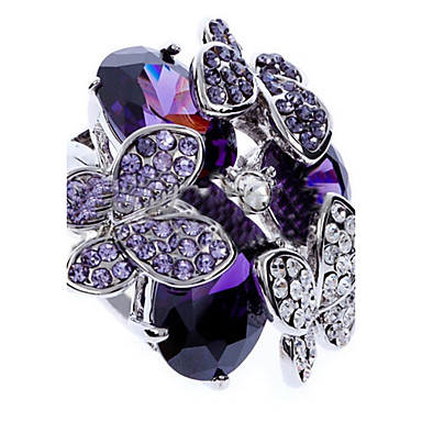 Women's Statement Rings Luxury Fashion Zircon Cubic Zirconia Imitation Diamond Alloy Butterfly Animal Jewelry Party