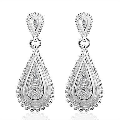 Mulheres Cristal Brincos Compridos - Prata Chapeada Lágrima Fashion Prata Para Casamento Festa Diário