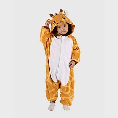 Barne Sjiraff Onesie-pysjamas Polar Fleece Gul Cosplay Til Gutter og jenter Pysjamas med dyremotiv Tegnefilm Halloween Festival / høytid