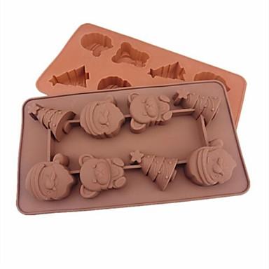 Fesztivál karácsonyi témát alakú tortát jég zselés csokoládé formák, szilikon 21,5 × 10,8 × 2 cm (8,5 × 4,3 × 0,8 inch)