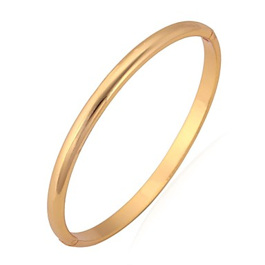 Women's Gold Plated Bangles Bracelet - Basic Simple Style Circle Silver Golden Bracelet For Wedding Party Birthday