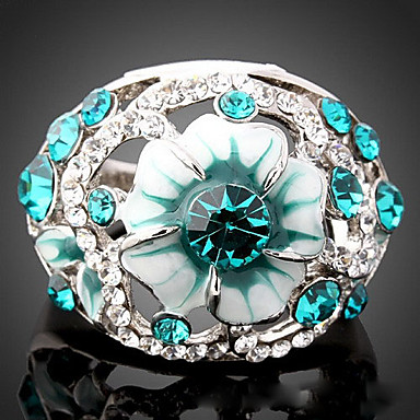 Women's Statement Ring - Cubic Zirconia, Imitation Diamond Luxury, Fashion One Size Light Blue / Screen Color For Party
