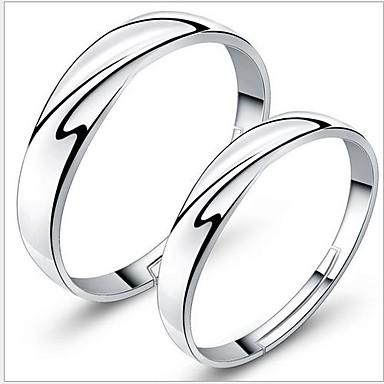 925 páros ezüst jegygyűrű (2 db) klasszikus női stílusban
