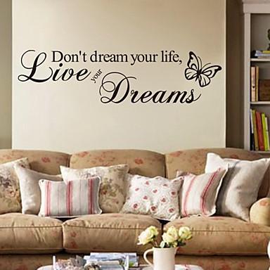 levne Samolepky na zeď-Slova a citáty Samolepky na zeď Samolepky na stěnu Ozdobné samolepky na zeď, PVC Home dekorace Lepicí obraz na stěnu Stěna