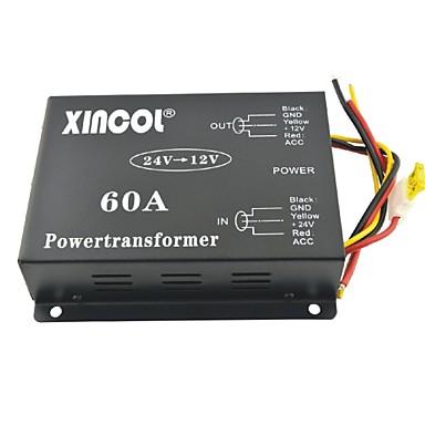xincol® Fahrzeug Auto DC 24V bis 12V 60a Netztransformator Wandler mit Dual-Lüfter-Regelung-schwarz