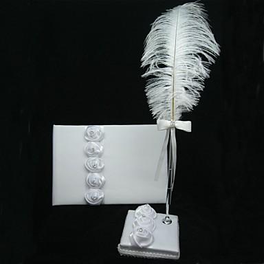 белый атлас выросли гостевую книгу и перо набор с пером знак в книге