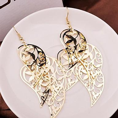 Κρεμαστά Σκουλαρίκια Κράμα Leaf Shape Κρεμαστό Χρυσό Ασημί Κοσμήματα 2pcs