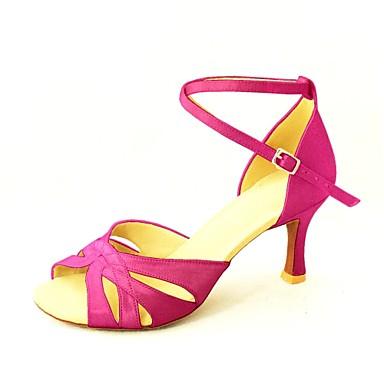 Női Latin cipők / Salsa cipők Szatén Szandál Csat Személyre szabott sarok Személyre szabható Dance Shoes Sárga / Fukszia / Bíbor