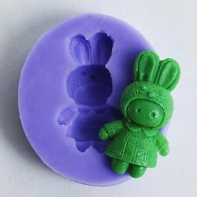 één gat konijntjes vormige fondant cake chocoladevorm