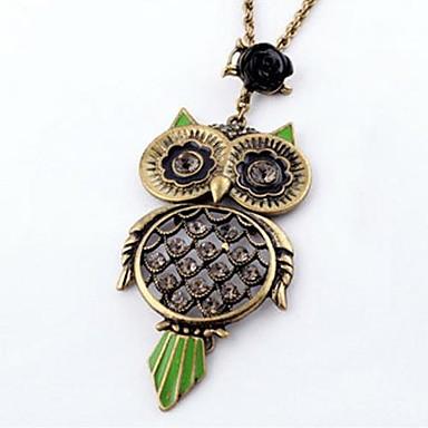 Women's Retro Diamond Necklace Rose Owl
