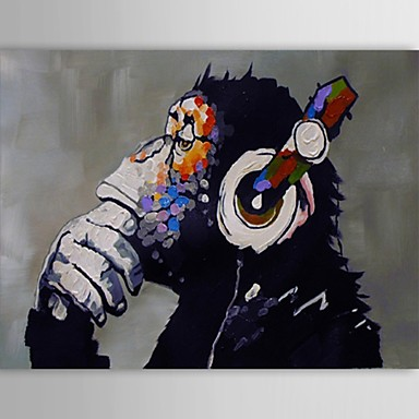 Oil Painting Hand Painted - Animals Classic Modern Traditional Canvas