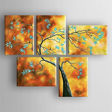 Handgeschilderde Landschap Vijf panelen Canvas Hang-geschilderd olieverfschilderij For Huisdecoratie
