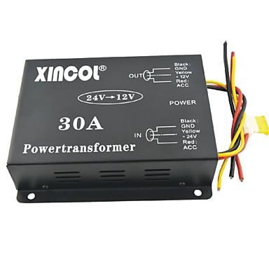 xincol® Fahrzeug Auto DC 24V bis 12V 30a Netztransformator Wandler mit Lüfterregelung schwarzen