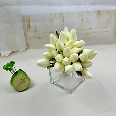 διακοσμητικά λουλούδια λευκό κόκκινο 12 κεφάλια πραγματική επαφή δέσμη τουλίπα στέλεχος 10.23