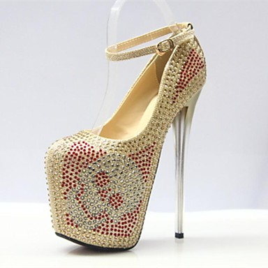 Women's Spring / Fall Heels / Platform / Round Toe Leatherette Party & Evening Stiletto Heel Crystal Gold