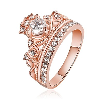 Ringen voor stelletjes - Kristal, Strass, Verguld Kroonvorm Roos, Gouden