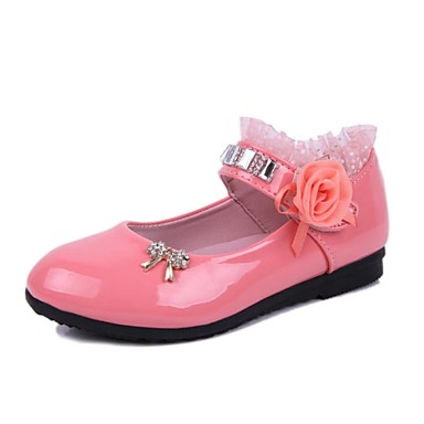Girls' Shoes Leatherette Spring Summer Fall Mary Jane Comfort Satin Flower Sparkling Glitter Magic Tape for Casual Dress Black Pink