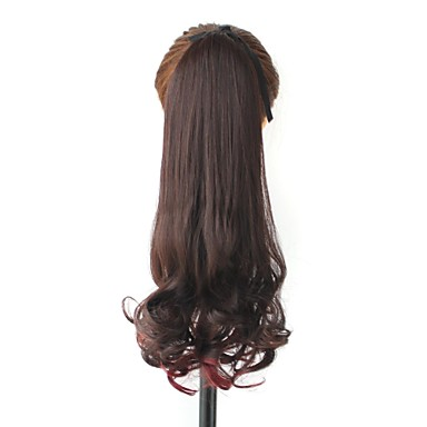 High Quality Synthetic Hair Piece 18 Inch Long Curly Clip In Ribbon Ponytail