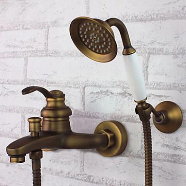 Смеситель для душа - Античный Старая латунь Ванна и душ Керамический клапан