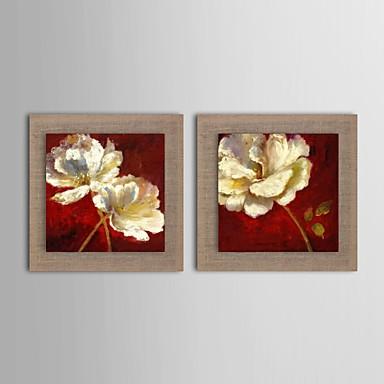 Kézzel festett Virágos / Botanikus Vízszintes Hang festett olajfestmény lakberendezési Két elem