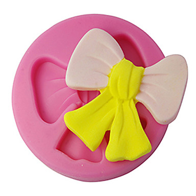 FOUR-C Silicone Cupcake Mold Bowknot Fondant and Sugarpaste Mould, Cake Decorating Tools Supplies Color Pink