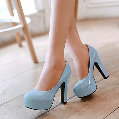 Для женщин Обувь Лакированная кожа Весна Лето Осень На толстом каблуке Назначение Для праздника Черный Розовый фиолетовый Голубой