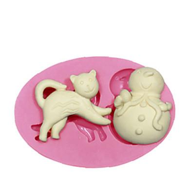 kat snowman siliconen mal siliconen mal taart decoreren siliconen mal voor fondant snoep ambachten sieraden pmc hars klei