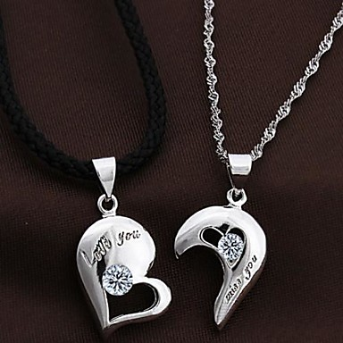 Couples' Silver Heart Pendants Chains Necklace With Cubic Zirconia(2 pcs)