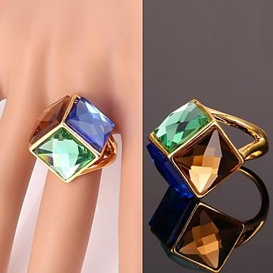 levne Fashion Ring-Dámské Vyzvánění Křišťál Pozlacené Slitina dámy Neobvyklé Jedinečný design Módní Fashion Ring Šperky Modrá Pro Svatební Párty Denní Ležérní Sport