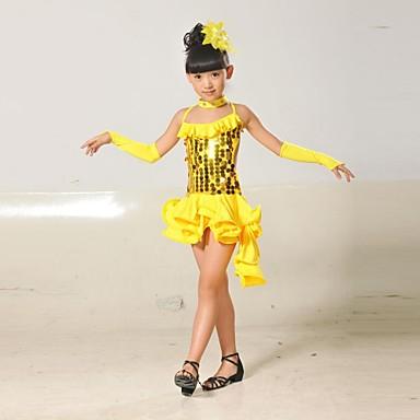 라틴 댄스 의상 성능 폴리에스테르 라이크라 스팽글 태슬 민소매 내츄럴 드레스 글러브 Neckwear 헤드 웨어
