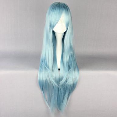 Syntetiske parykker Rett Lagvis frisyre Syntetisk hår Naturlig hårlinje Blå Parykk Dame Lang Cosplay-parykk / Halloween parykk / Karneval