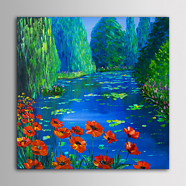 IARTS Oil Painting Modern Landscape River Flowers Hand Painted Canvas with Stretched Frame