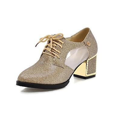 Γυναικεία παπούτσια - Oxfords - Γραφείο & Δουλειά / Φόρεμα - Χοντρό Τακούνι - Με Τακούνι / Μυτερό - Δερματίνη - Μαύρο / Ασημί / Χρυσό