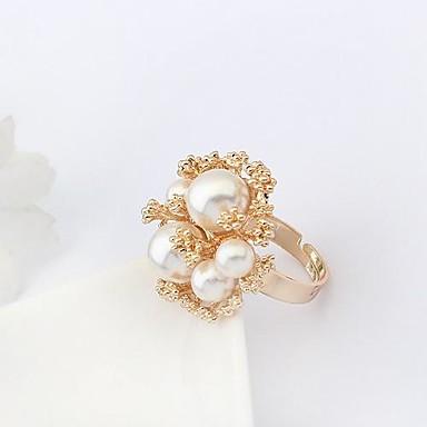 Damskie Pierścień oświadczenia White Perłowy Imitacja pereł Stop Luksusowy Modny Europejski Impreza Biżuteria kostiumowa
