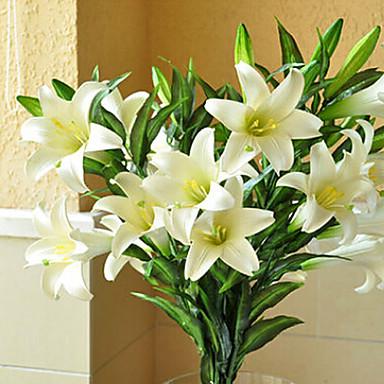 Künstliche Blumen 1 Ast Europäischer Stil Lilien Tisch-Blumen