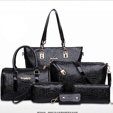 Women s Bags Patent Leather Tote   Shoulder Bag   Bag Set Solid Colored  Black   Red   Blue   Bag Sets 5ba42928979cf