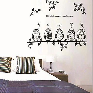 Dieren Romantiek Mode Cartoon Botanisch Muurstickers Vliegtuig Muurstickers Decoratieve Muurstickers, Vinyl Huisdecoratie Muursticker Wand