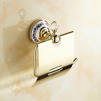 Toilet Paper Holder Neoclassical Brass Crystal Ceramic 1 pc - Hotel bath
