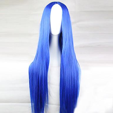 Syntetiske parykker Dame Rett Blå Asymmetrisk frisyre Syntetisk hår 28 tommers Naturlig hårlinje Blå Parykk Lang Lokkløs Lyseblå