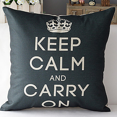 Modern tarzda siyah taç desenli pamuk / keten dekoratif yastık kılıfı