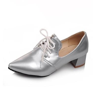 Черный / Красный / Серебристый - Женская обувь - Для офиса / Для праздника - Лакированная кожа - На толстом каблуке -На каблуках / С
