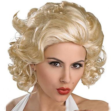 Synthetische Perücken Locken / Lose gewellt / Natürlich gewellt Gold Asymmetrischer Haarschnitt Synthetische Haare 16 Zoll Natürlicher Haaransatz Gold Perücke Damen Kurz Kappenlos Beige