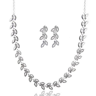 Damen Blattform Diamantimitate Halsketten - Grundlegend Silber Modische Halsketten Für Hochzeit Party Geburtstag